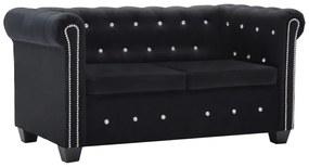 vidaXL fekete 2 személyes bársony Chesterfield kanapé 146 x 75 x 72 cm