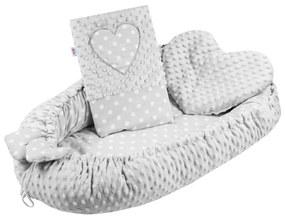 NEW BABY   New Baby Pöttyös   Luxus babafészek párnával és paplannal New Baby Szívecske szürke   Szürke  