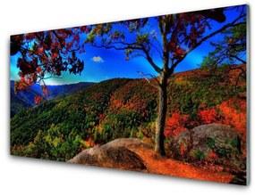 Modern üvegkép Mount Forest Nature 140x70 cm