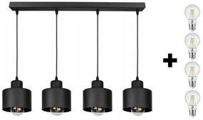 Glimex LAVOR állítható függőlámpa fekete 4x E27 + ajándék LED izzók