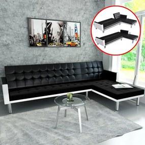 Fekete, l-alakú, műbőr kanapéágy