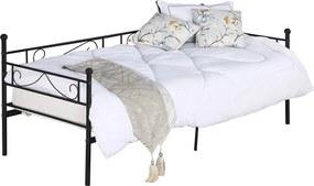 Fém kanapé - egyszemélyes ágy, fekete, 90x200, ROZALI