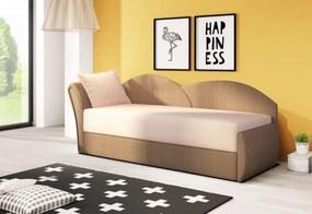 RICCARDO kinyitható kanapé, 200x80x75 cm, bézs + sötétbarna, (alova 07/alova 67), balos