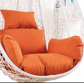 Függő Hinta Fotel Fehér 100X83X62Cm (Narancs)