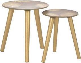 2 db aranyszínű MDF egymásba rakható asztal 40x45|30x40 cm