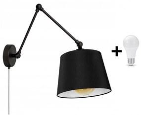 Glimex ABAZUR hosszú karos állítható fekete fali lámpa kapcsolóval 1x E27 + ajándék LED izzó