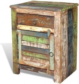 Egyajtós egyfiókos újrahasznosított fa kisasztal