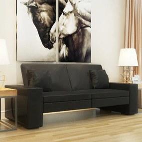 Fekete műbőr kanapéágy