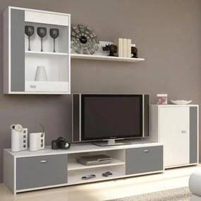 Nappali bútor, fehér/szürke, GENTA