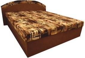 Dupla ágy, habmatracokkal, barna/minta, PETRA