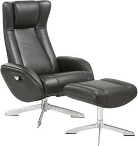 RIGA fekete bőr fotel lábtartóval