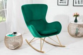 SWING design bársony hintaszék - zöld