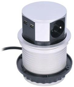Solight Solight PP100USB - Konnektoros oszlop asztallaphoz 2x230V + 2xUSB SL0244