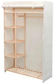 vidaXL fenyőfa és szövetanyag ruhásszekrény 110 x 40 x 170 cm