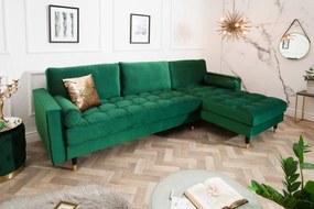 Sarok ülőgarnitúra Adan II 260 cm smaragdzöld bársony