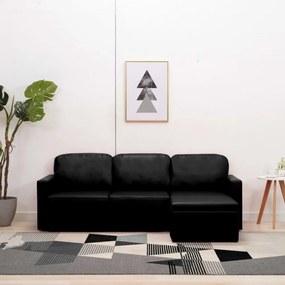 3-személyes fekete műbőr elemes kanapé