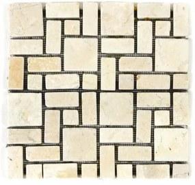 Márvány mozaik DIVERO krémszínű csempék 11 db - 1m²
