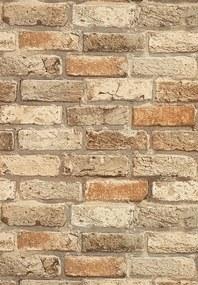 Barna színű tégla mintás tapéta