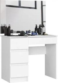 Öltözködő, fésülködő asztal tükörrel fehér 90x50cm