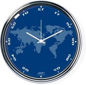 Fordított falióra világtérképpel - kék, átmérő 32 cm | DSGN