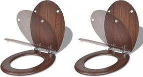 2 db barna mdf wc ülőke lassan csukódó fedéllel