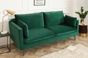 Stílusos hármas ülőgarnitúra Lena / 210 cm - zöld bársony