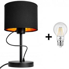 Glimex Abazur asztali/éjjeli lámpa fekete 1x E27 + ajándék LED izzó