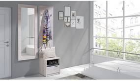 Előszoba fal összeállítás KOLOREDO 1 - Tükör + Ruha Akasztó + éjjeli szekrény, fehér tölgy/magasfényű grafit