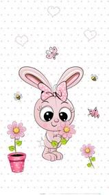 Best4Baby Nyuszi kislány pöttyös dekor babafüggöny