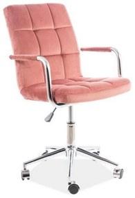 KEDE Q-022 VELVET gyerek szék, 51x87-97x40, bluvel 52, rózsaszín