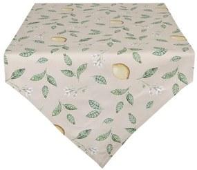 Citrom mintás asztali futó, 50x160cm - Lemons & Leafs - Clayre-Eef