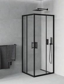 Mexen Rio zuhanykabin elhúzható ajtóval - 80 x 80 cm - fekete profil (860-080-080-70-00)