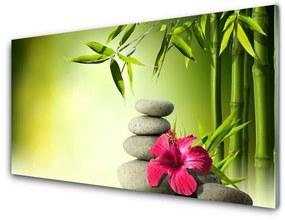 Akrilkép Virág bambusz Zen kövek 140x70 cm
