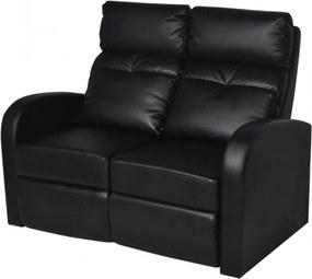 2 személyes fekete dönthető támlájú műbőr fotel