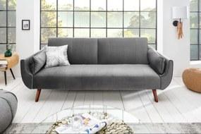SKAGEN modern bársony kanapé - 215cm - szürke