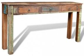 Háromfiókos újrahasznosított fa tálalóasztal