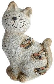 Kerti dekoráció Macska kavicsokkal, 18 x 28,5 x 13 cm