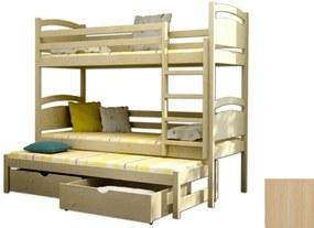 FA PETRA 2 emeletes ágy 90x200 pótággyal és tároló fiókkal Szín: Natúr, Leesésgátló: Leesésgátló nélkül