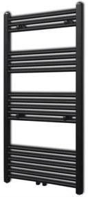 vidaXL Egyenes fekete törölközőszárító radiátor központi fűtéssel 600x1160 mm