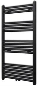 vidaXL Fekete fürdőszobai törölközőszárító radiátor központi fűtéssel egyenes 600 x 1160 mm