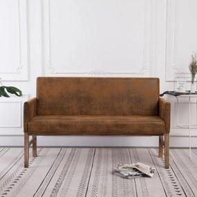 Barna művelúr pad karfával 140 cm