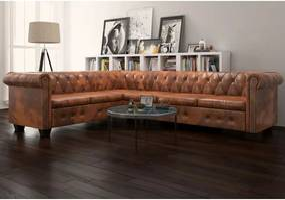 6 személyes barna műbőr chesterfield sarok kanapé