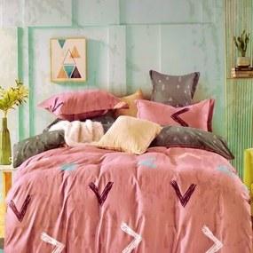 mályva színben érdekes minta pamut ágynemű 3-reszes