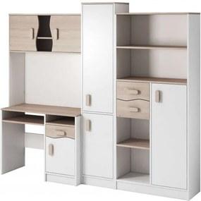 Macius Ifjúsági szekrénysor íróasztallal fehér – sonoma- Választható színes fogantyúval