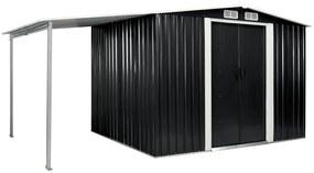 vidaXL antracitszürke acél kerti fészer tolóajtókkal 386 x 205 x 178 cm
