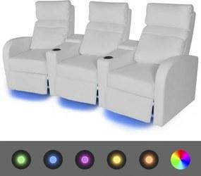 Led 3 személyes műbőr dönthető támlájú fotel fehér