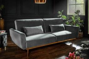 Ágyazható ülőgarnitúra Blaine 208 cm szürke bársony
