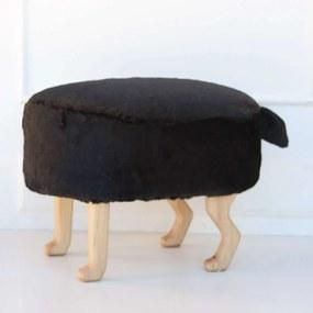 Szőrmés puff - fekete