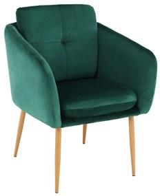 Dizájner fotel, smaragd Velvet szövet, AVETA