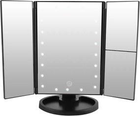 Állítható, forgatható, kihajtható LED-es tükör, fekete